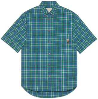 Gucci Check cotton shirt with piglet