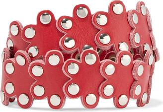 Red(V) Flower Puzzle Studded Leather Wrap Bracelet