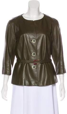 67e64d26844c Olive Green Leather Jacket - ShopStyle