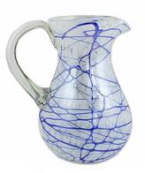 Hand Blown 81 oz Glass Pitcher in Swirling Blue on White, 'Blue Swirling Web'