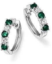 Bloomingdale's Emerald and Diamond Hoop Earrings in 14K White Gold - 100% Exclusive