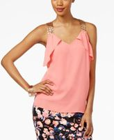 Thalia Sodi Ruffled Embellished Top, Only at Macy's