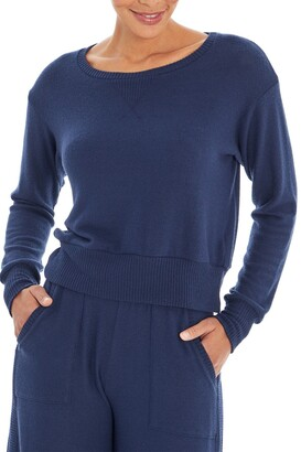 Three Dots Crew Neck Knit Sweatshirt
