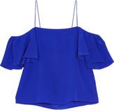 Fendi Off-the-shoulder Silk Crepe De Chine Top - Cobalt blue