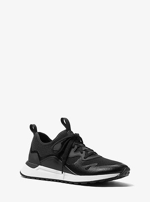 Michael Kors Nolan Mesh and Rubberized Leather Trainer - Black/white
