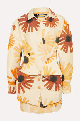 Jacquemus Murano Floral-print Cotton And Linen-blend Mini Dress - Pastel yellow