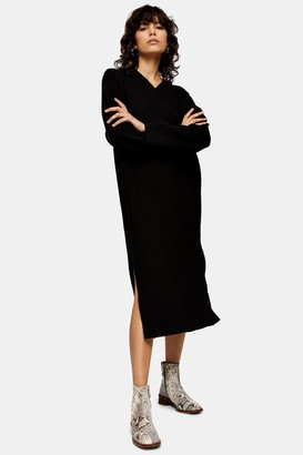 Topshop Black V Neck Knitted Midi Dress with Wool