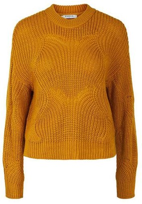 Pieces Mustard Yellow Cable Knit Jumper - XS