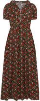ALEXACHUNG Hooded Floral-print Crepe Midi Dress