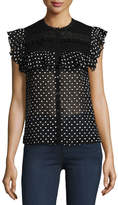 Rebecca Taylor Moon Dot Sleeveless Embroidered Top, Black-White