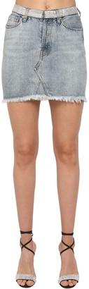 Alexandre Vauthier Crystal Embellished Cotton Denim Skirt
