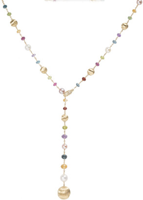 Marco Bicego Africa 18k Mixed-Gemstone Lariat Necklace w/ Pearls