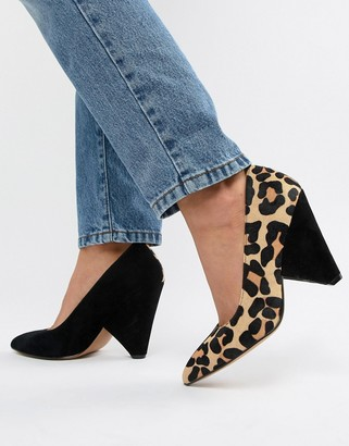 Asos DESIGN Potion premium leather high heeled court shoes in black suede and leopard