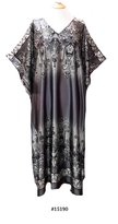 FIONALISSA Women Silver Grey Soft Silky Satin Woven Print Long Caftan/Dress. One Size Fit All