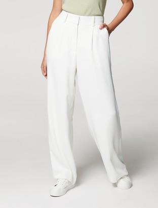 Forever New Anna Wide-Leg Elasticated-Back Pants - Porcelain - 10