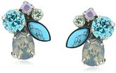 """Sorrelli Teal Textile"""" Crystal Cluster Clip-On Earrings"""