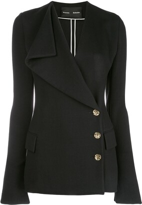 Proenza Schouler Exaggerated Lapel Jersey Suiting Jacket