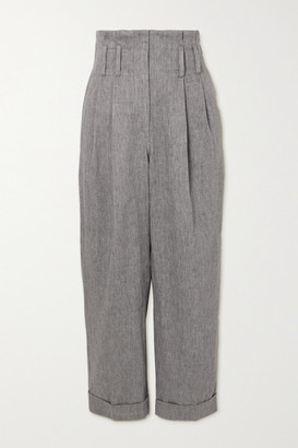 Brunello Cucinelli Cropped Pleated Herringbone Linen-blend Straight-leg Pants - Gray