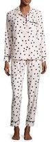 Kate Spade Dot-Print Flannel Pajama Set, Pink Shadow