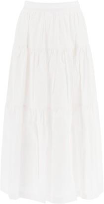 STAUD Flounced Midi Skirt