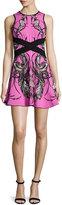 Roberto Cavalli Sleeveless Feather-Print Mini Dress, Rosa