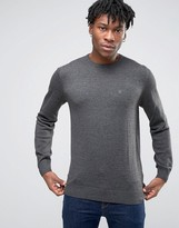 Blend Crew Knit Jumper Slim Fit In Charcoal