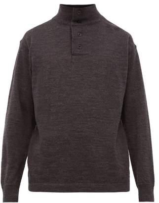 Mhl By Margaret Howell Stand Collar Merino Wool Sweater - Mens - Black