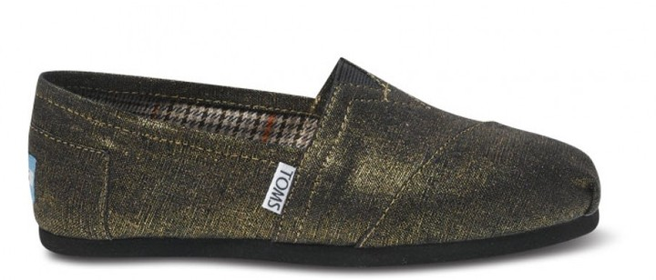 Toms Gold metallic woven women's vegan classics