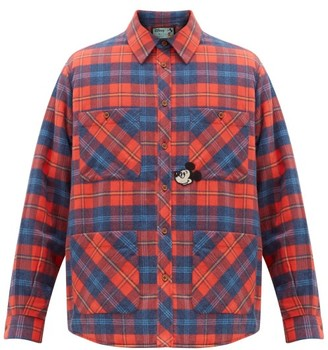 Gucci Mickey Mouse-applique Checked-cotton Overshirt - Red Multi