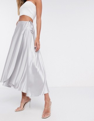 ASOS DESIGN satin wrap midi skirt in silver