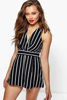 boohoo Molly Wrap Over Stripe Playsuit black