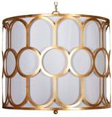 Worlds Away Art Deco-Style Pendant With White Linen Inner Shade