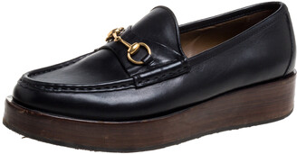 Gucci Black Leather Horsebit Wooden Platform Loafers Size 38.5