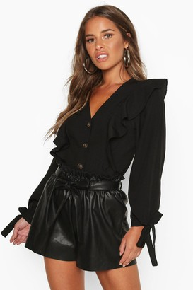 boohoo Petite Button Up Frill Blouse