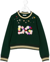 Dolce & Gabbana button and floral embellished sweatshirt