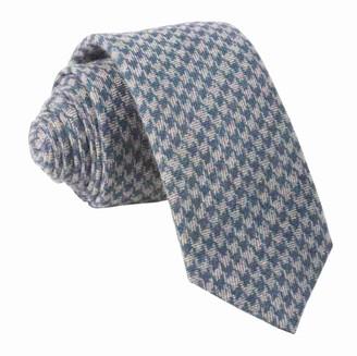 The Tie BarThe Tie Bar Navy Brushed Cotton Houndstooth Tie