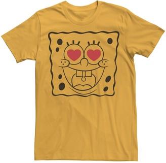 Nickelodeon Men's SpongeBob SquarePants Heart Eyes Graphic Tee