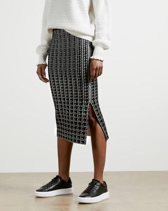 Ted Baker ATLASSY Houndstooth jacquard skirt