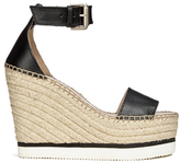 See by Chloe Women's Leather Espadrille Wedged Sandals Black