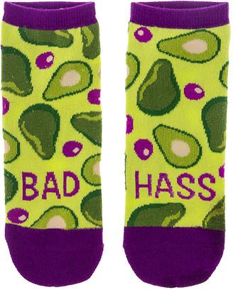 Wit! Gifts Socks - Purple & Green 'Bad Hass' Avocado No-Show Socks - Adult