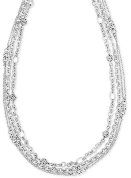 "Lois Hill Multi-Chain Adjustable 18"" Statement Necklace in Sterling Silver"