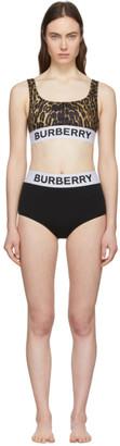 Burberry Black and Brown Leopard Sporty Bikini