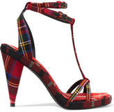 Burberry Tartan Wool-canvas Sandals - Red