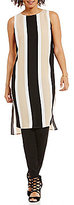 Vince Camuto Sleeveless Deco Bold Stripe Tunic With Side Slits