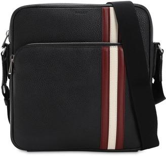 Bally Logo Stripe Leather Messenger Bag