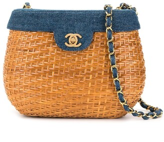 Chanel Pre Owned Denim Basket Chain Shoulder Bag