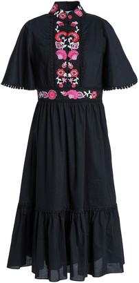 Kate Spade Embroidered Cotton-poplin Midi Dress