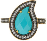 Freida Rothman 14K Gold & Rhodium Plated Sterling Silver CZ Turquoise Paisley Radiance Ring - Size 9