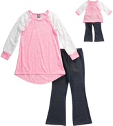 Dollie & Me Pink & Denim Tunic Set & Doll Outfit - Girls