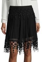 Elie Tahari Brielle Pleated Chiffon & Lace Skirt